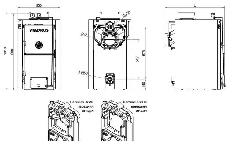 Котел на дровах Viadrus Hercules U22 схема