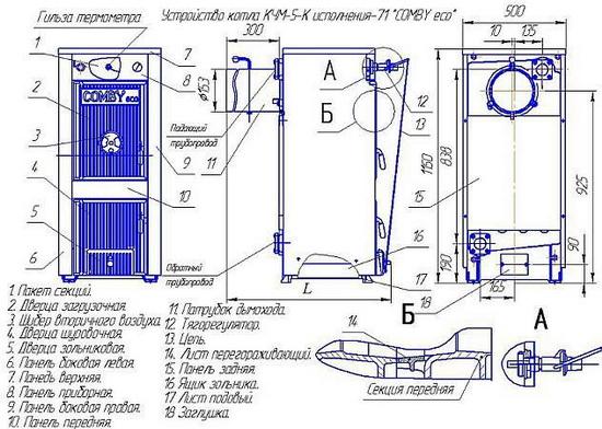 Твердотопливный котел КЧМ 5 - технические характеристики и отзывы 3