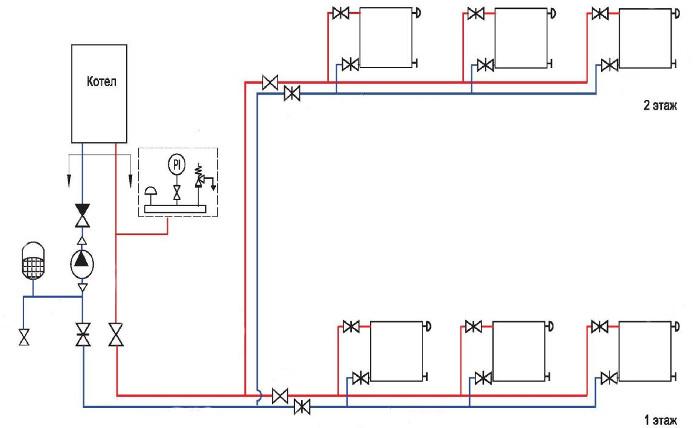 схема отопления двухэтажного дома с принудительной циркуляцией 4