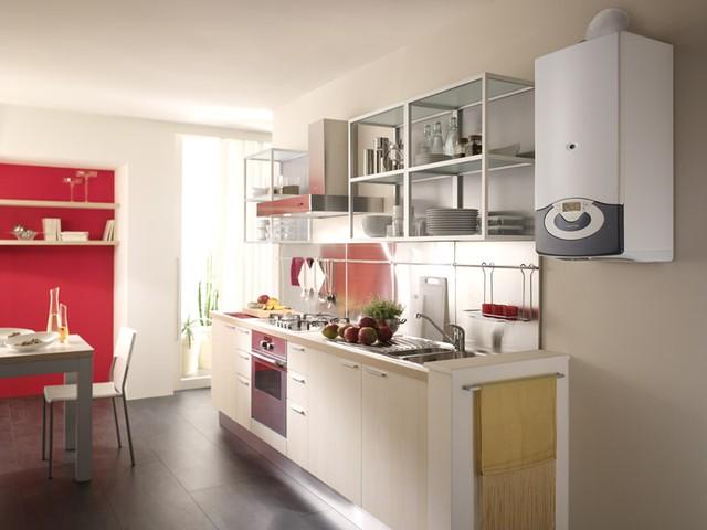 дизайн кухни с котлом индивидуального отопления в углу фото 4