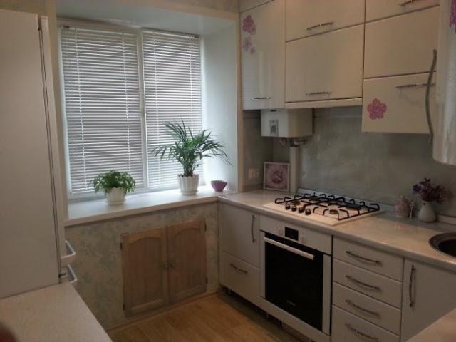 маленькая кухня дизайн фото 9 кв м с холодильником с котлом 5