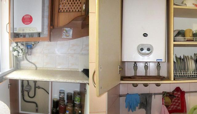 Как спрятать газовый котел на кухне - фото и идеи 8