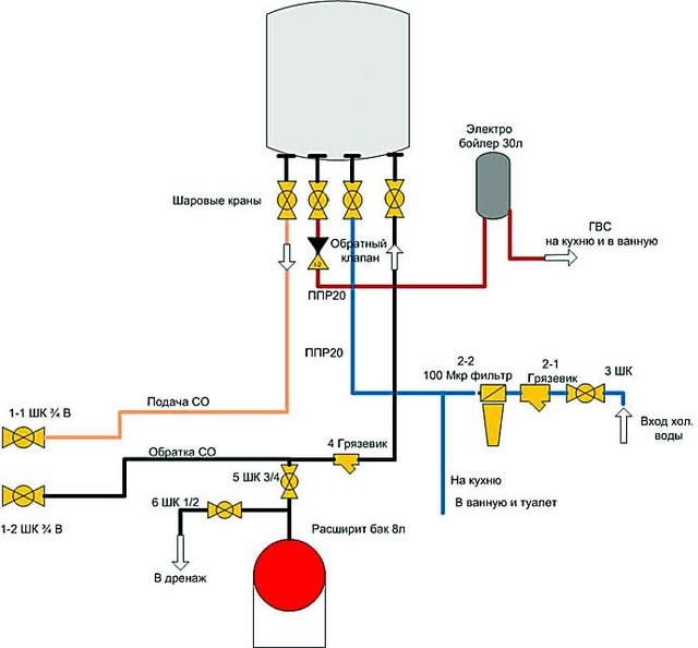 Схема как подключить бойлер косвенного нагрева к двухконтурному котлу 3