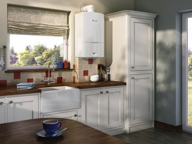 Фото дизайна кухни с газовым котлом на стене 1