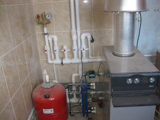 Установка котла отопления и трубы к нему в частном доме 1