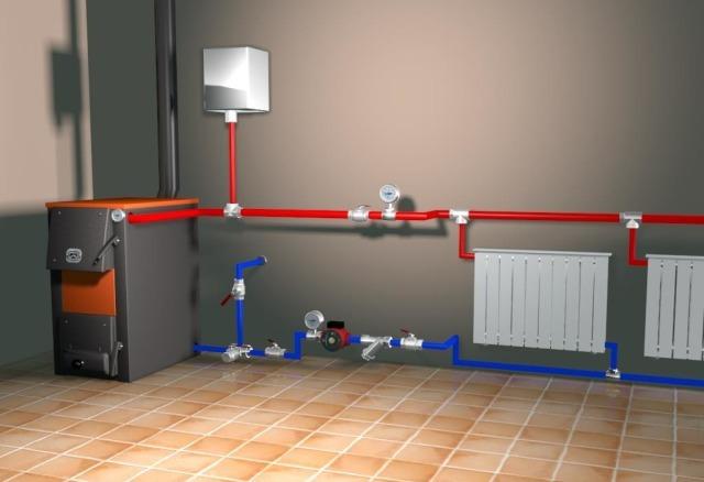 схема отопления двухэтажного дома с принудительной циркуляцией 1