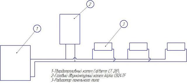 Схема подключения газового и твердотопливного котлов в одну систему 7